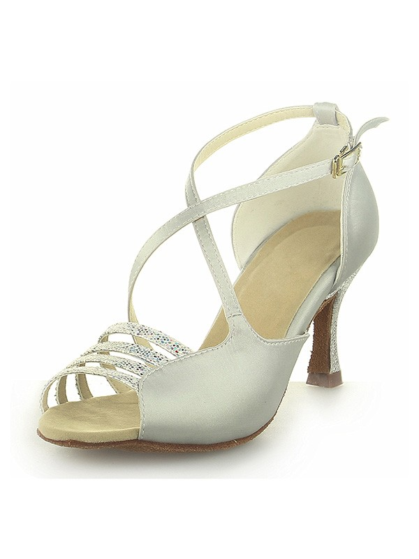 Women's Peep Toe Satin Spool Heel With Buckle Wedding Shoes