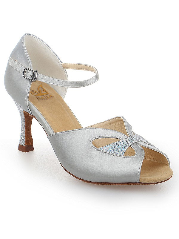 Women's Peep Toe With Buckle Satin Stiletto Heel Wedding Shoes