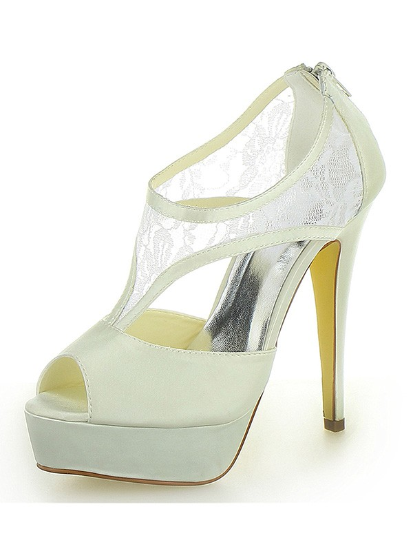 Women's Stiletto Heel Satin Platform Peep Toe With Zipper Wedding Shoes