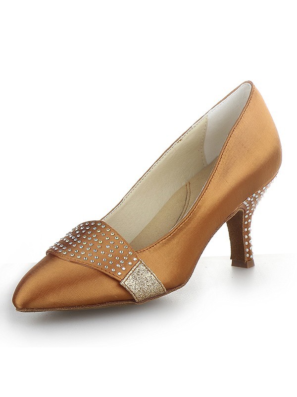 Women's Satin Closed Toe Cone Heel With Rhinestone Party Shoes