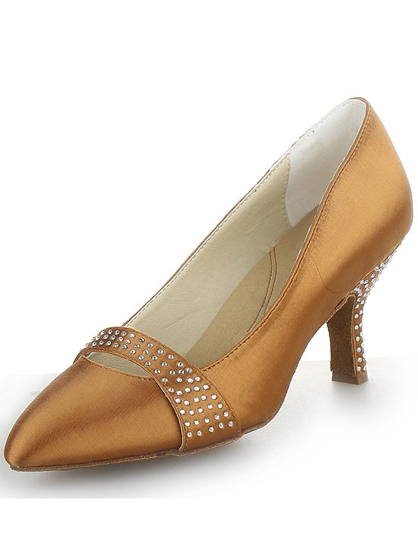 Women's Satin Cone Heel Closed Toe With Rhinestone Party Shoes