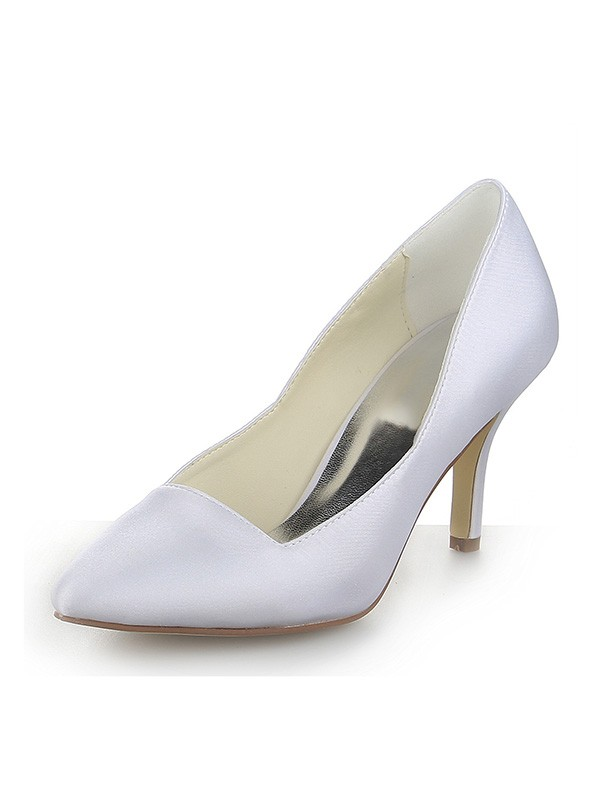Women's Closed Toe Satin Stiletto Heel Dress Wedding Shoes