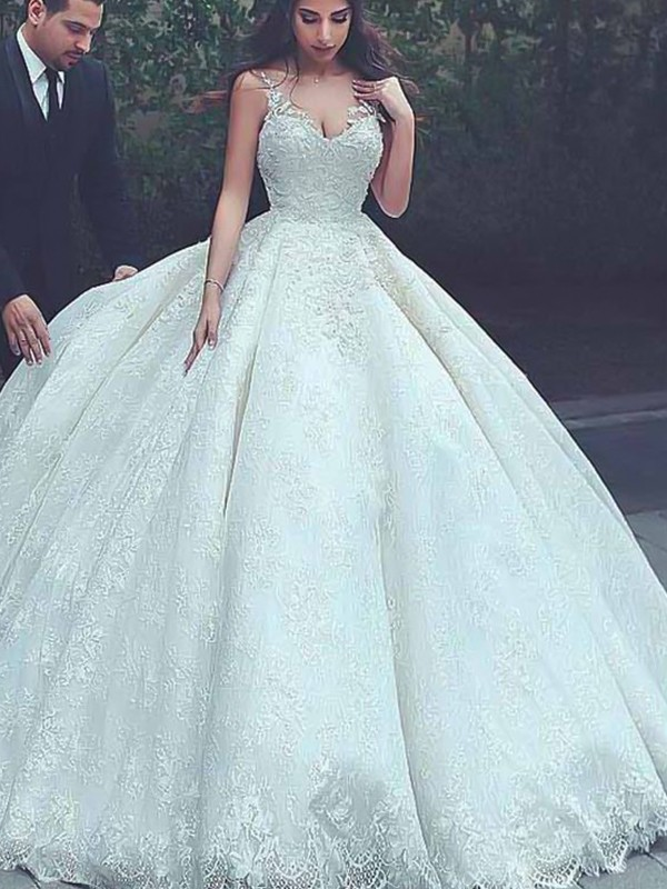 Ball Gown Spaghetti Straps Sweep/Brush Train Lace Tulle Wedding Dresses