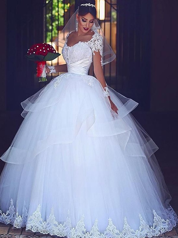 Ball Gown Sweetheart Floor-Length Lace Tulle Wedding Dresses