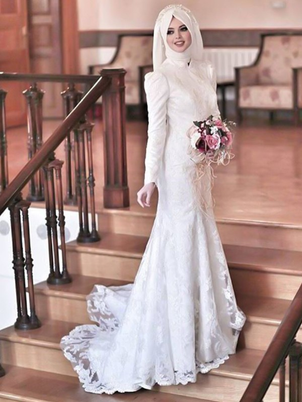 Trumpet/Mermaid High Neck Sweep/Brush Train Lace Tulle Wedding Dresses