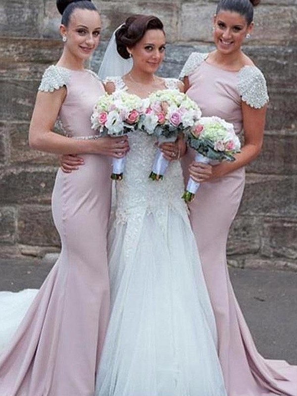 Trumpet/Mermaid Bateau Sweep/Brush Train Beading Satin Bridesmaid Dresses