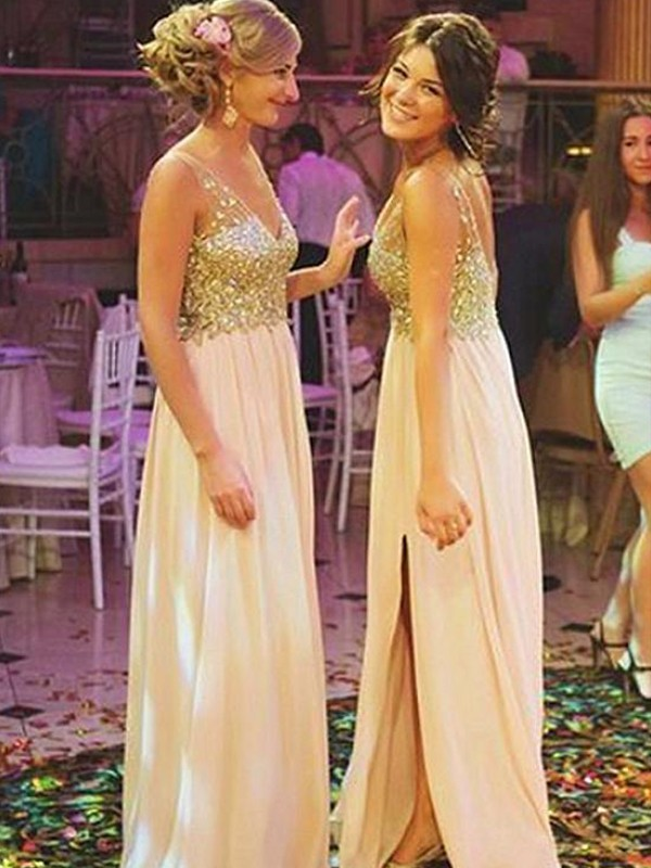 A-Line/Princess V-neck Sweep/Brush Train Sequin Chiffon Bridesmaid Dresses