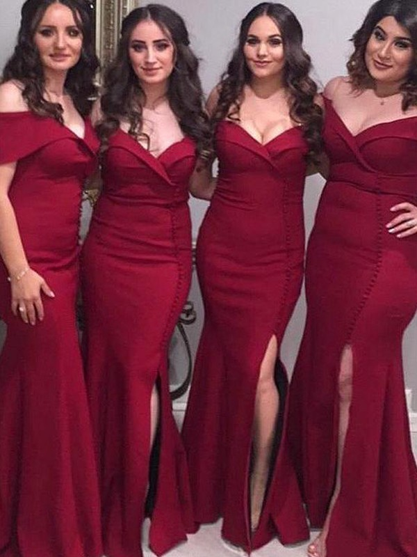 Sheath/Column Off-the-Shoulder Floor-Length Ruched Satin Bridesmaid Dresses