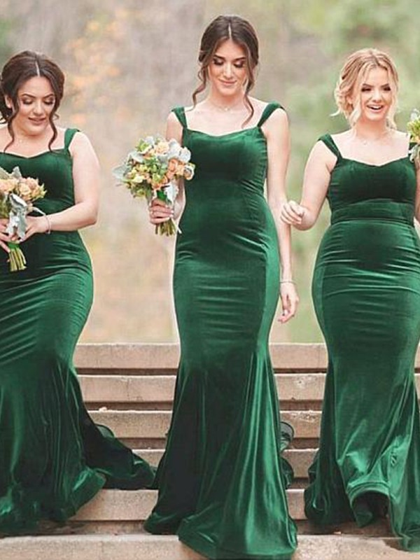 Sheath/Column SpaghettiStraps Sweep/Brush Train Ruffles Velvet Bridesmaid Dresses