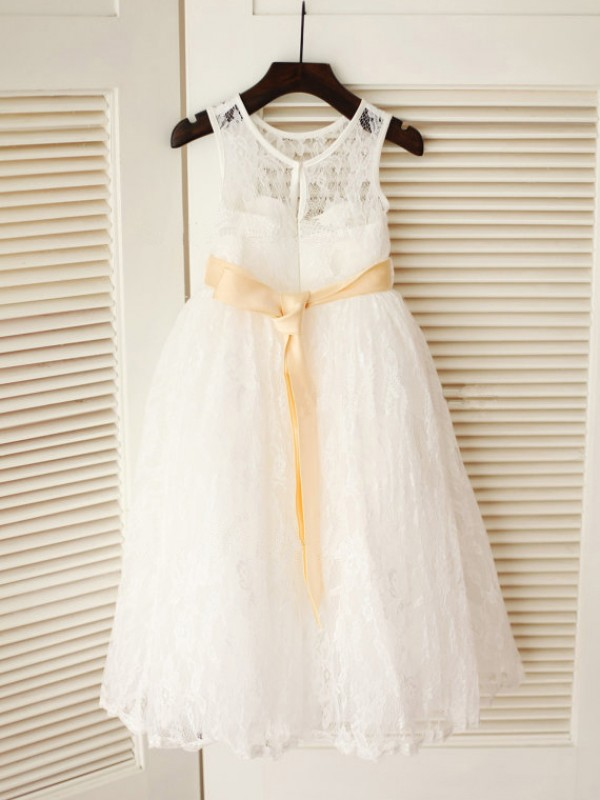 Princess Scoop Sleeveless Sash/Ribbon/Belt Ankle-Length Lace Dresses