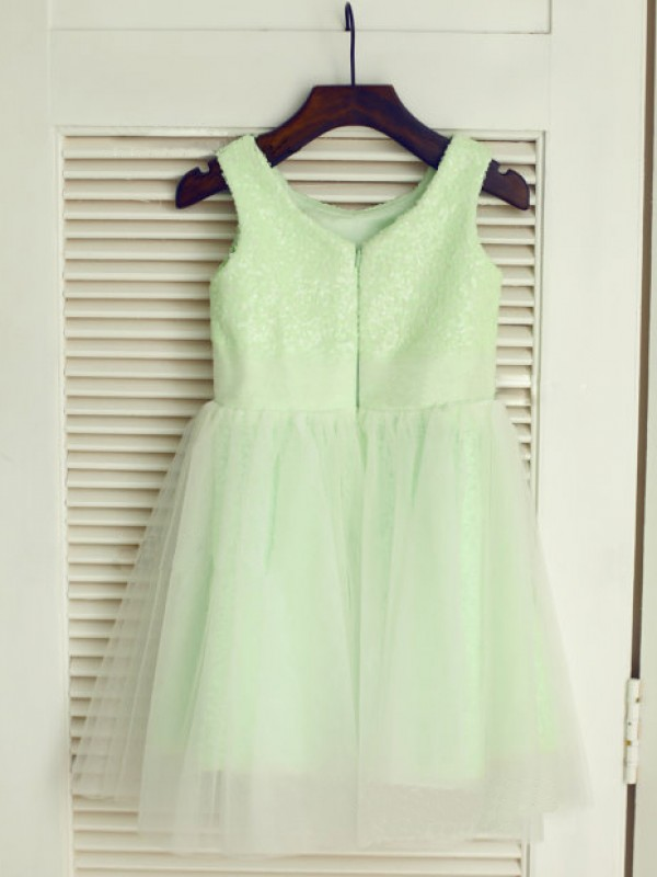 A-line Scoop Sleeveless Tea-Length Tulle Dresses