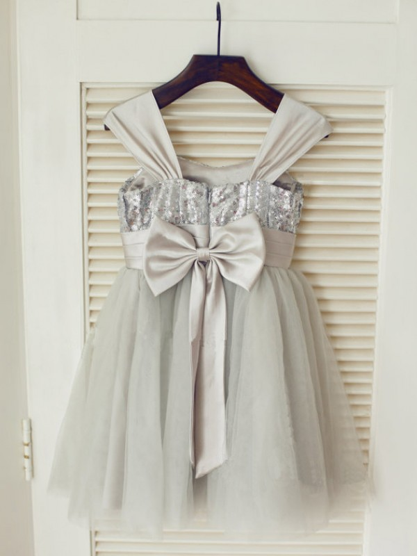 A-line Straps Sleeveless Bowknot Tea-Length Tulle Dresses