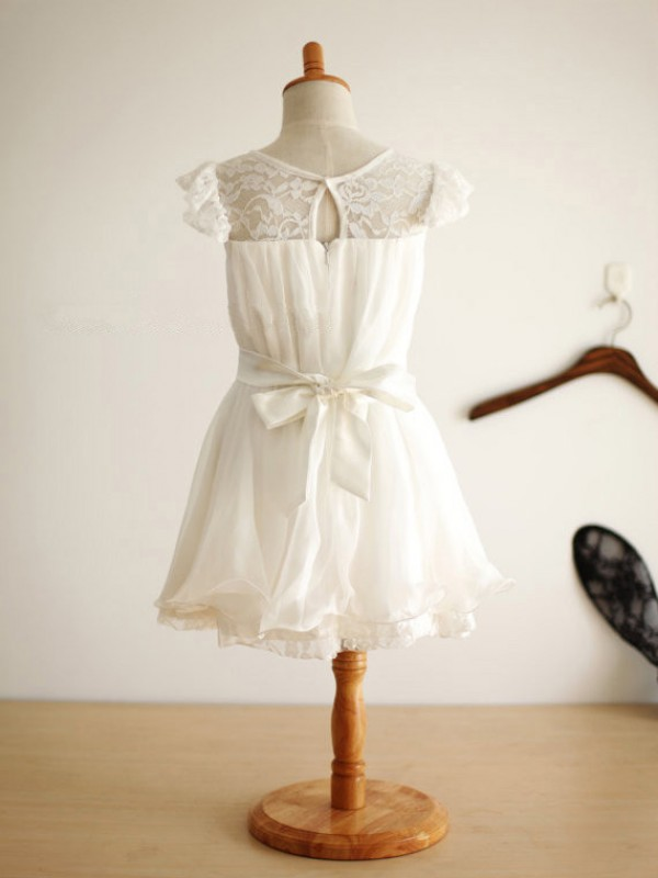 Princess Scoop Sleeveless Hand-Made Flower Knee-Length Chiffon Dresses