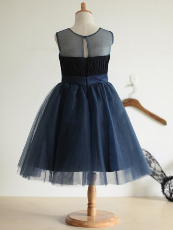 Ball Gown Jewel Bowknot Tea-Length Tulle Dresses