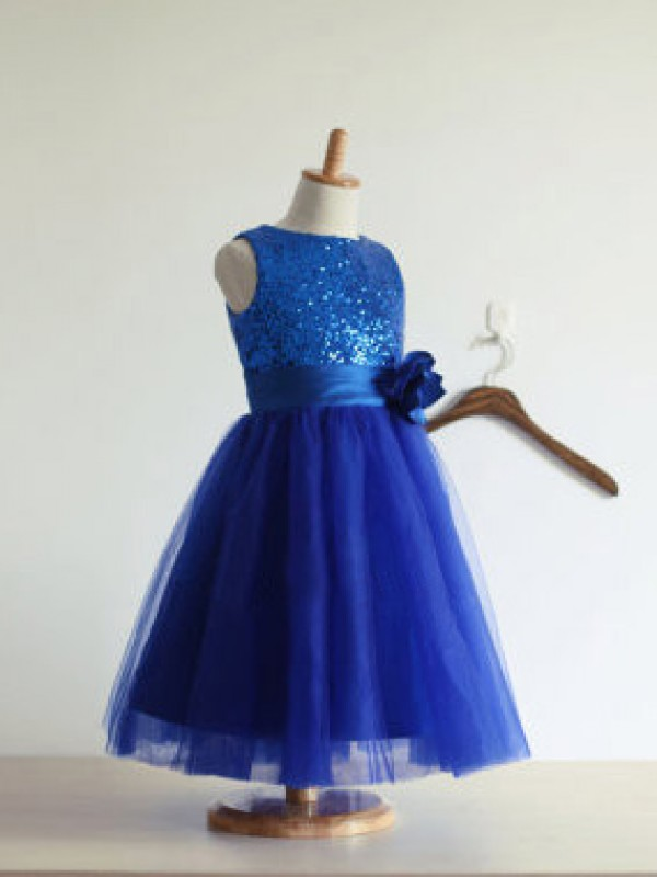 A-line/Princess Jewel Hand-Made Flower Tulle Tea-Length Dresses