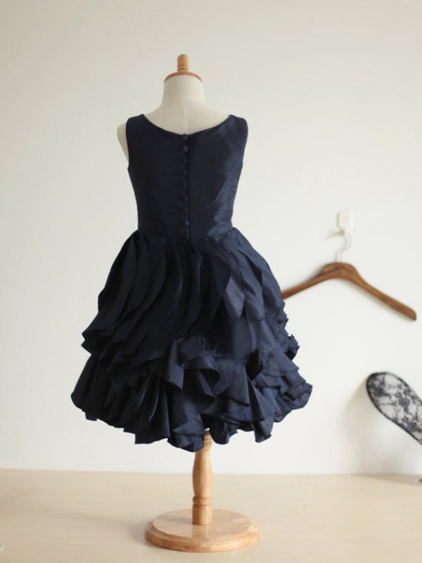 Princess Jewel Sleeveless Tea-Length Taffeta Dresses