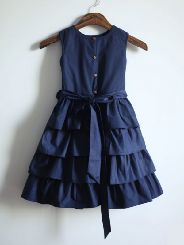 A-line Jewel Sleeveless Sash/Ribbon/Belt Tea-Length Taffeta Dresses